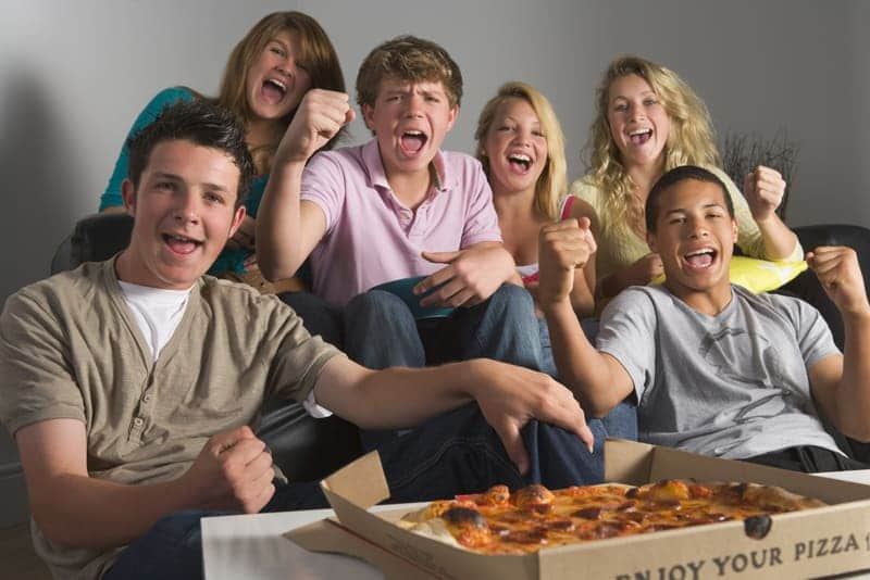 kids being kids with pizza