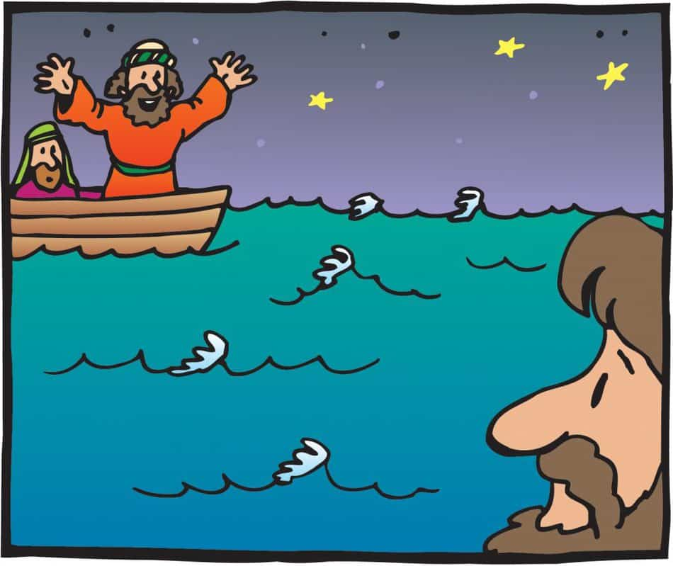 Peter the apostle on a boat